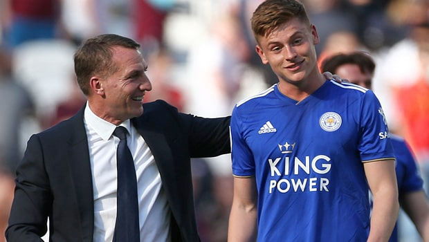 Brendan-Rodgers-and-Harvey-Barnes Leicester-City-min