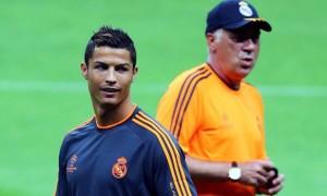 Carlo Ancelotti with Cristiano Ronaldo Real Madrid Champions League