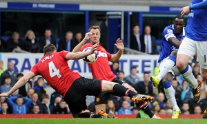 Manchester United handles a shot from Everton