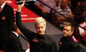 Neil Robertson winning second round match against Mark Allen Dafabet World Snooker Championships