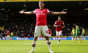 Aaron Ramsey arsenal scoring goal against Norwich city