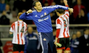 Gus Poyet celebrating against West Bromwich Albion