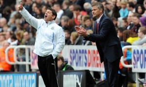 Ole Gunnar Solskjaer Cardiff City manager with John Carver Newcastle United