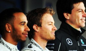 Lewis Hamilton, Nico Rosberg and Toto Wolff