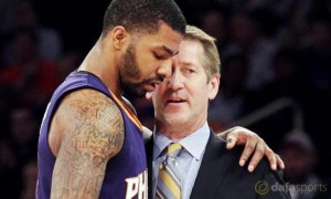 Phoenix Suns Head coach Jeff Hornacek and Markieff Morris