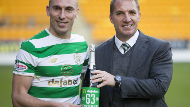 Celtic Scott Brown and manager Brendan Rodgers