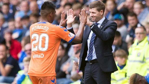 Steven-Gerrard-and-Alfredo-Morelos-Rangers-min