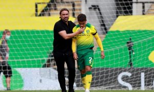 Norwich City manager Daniel Farke with Max Aarons