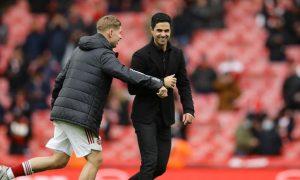 Emile Smith Rowe and Mikel Arteta Arsenal