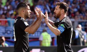 Lionel Messi and Sergio Aguero Barcelona